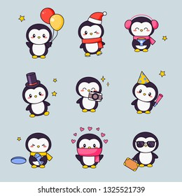 Cute Penguin Kawaii Clipart Sticker Set. White Black Bird with Anime Face Various Emoji Design for Doodle. Different Comic Animal Gift Icon Kit for Children. Flat Cartoon Vector Illustration
