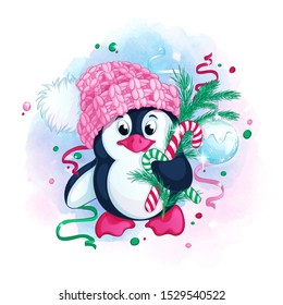 Cute penguin in a knitted pink hat with a pompom holds Christmas tree branches decorated with a glass shiny Christmas ball. Vector children's winter character. Watercolor textural background.