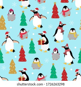 Cute penguin and little baby in winter costume seamless pattern. Wildlife animal in Christmas holidays outfit background