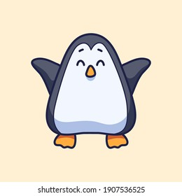 Cute Penguin for mascot stickers cartoon vector illustration