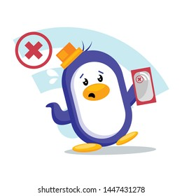Cute penguin with no Wi-Fi sign. penguin searching for signal/network  in phone.vector illustration isolated on white background