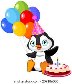 Cute Penguin with party hat holding balloons