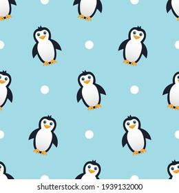 Cute penguin seamless pattern vector on light blue background.
