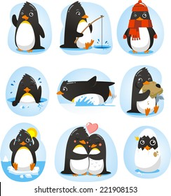 Cute Penguin set of illustrations, with penguins in different situations like dancing, fishing, winter, swimming, eating, in love.