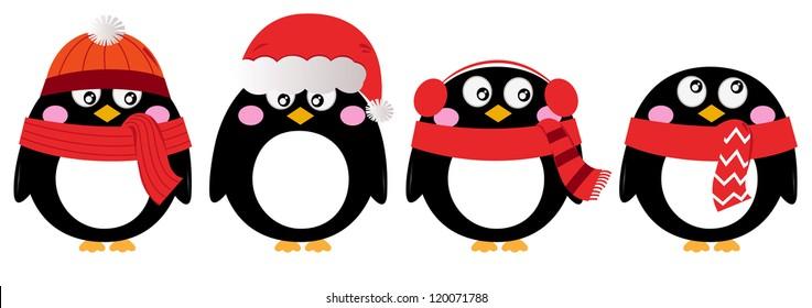Cute penguin set isolated on white