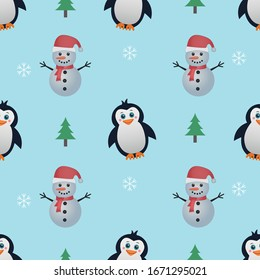 Cute penguin and snowman seamless pattern. A hand drawn desing with black, white, red, and green colors. Christmas concept for children fabric, cloth, backdrop, wallpaper. Eps 10 vector format.