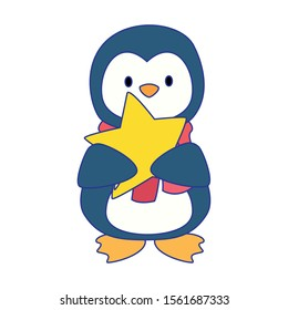cute penguin with star icon over white background, vector illustration