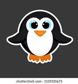 cute penguin sticker template in flat vector style