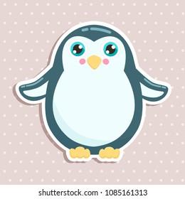 Cute penguin sticker vector illustration. Flat design.