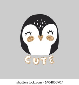 Cute Penguin vector illustration. Funny Cartoon animal. Can be used for kids or babies t shirt design. Happy little girl Penguin with golden glitter.