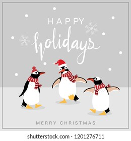 Cute penguin in winter costume vector. Merry Christmas and happy holidays greeting card. Wildlife animal cartoon character. Calligraphy hand written.