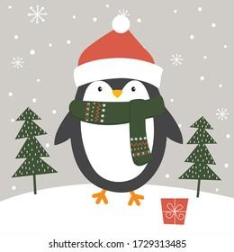Cute Penguin in winter, Vector illustration