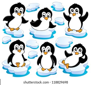 Cute penguins collection 2 - vector illustration.