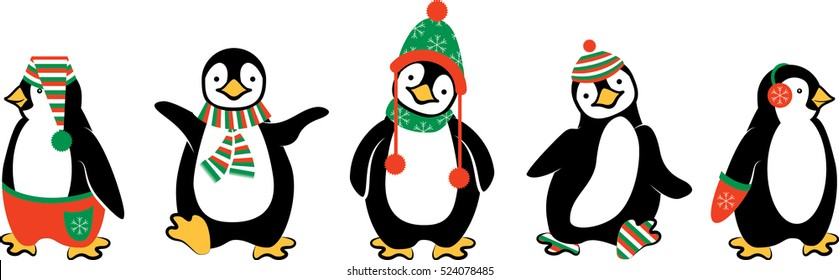 Cute Penguins Dressed Up for Winter Vector Illustration Isolated on White