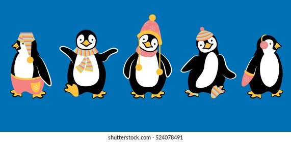 Cute Penguins Dressed Up for Winter Vector Illustration