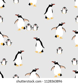 Cute penguins family seamless pattern and background. Animal wildlife in winter cartoon character vector.
