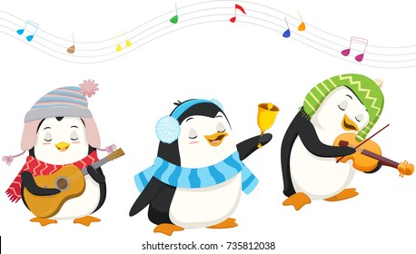 cute penguins playing christmas musical instruments