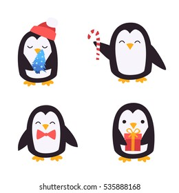 Cute penguins set - happy new year and merry Christmas