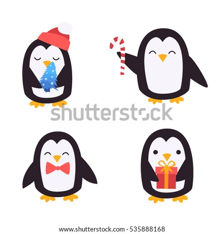 cute penguins set happy new year and merry christmas