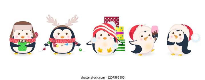 Cute penguins set. Xmas cartoon vector illustration. Christmas penguin characters