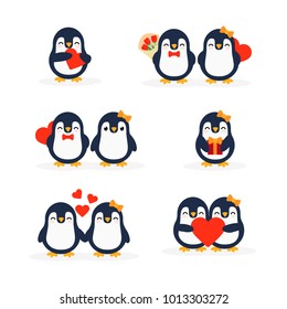 Cute penguins set-happy Valentines day. A pair of penguins. Penguin holding a heart. Penguin with flowers. Penguin with a gift . Postcard for Valentine's Day, vector illustration in cartoon style