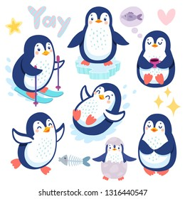 Cute penguins skiing, having fun, drinking tea. Funny characters. Vector illustration.