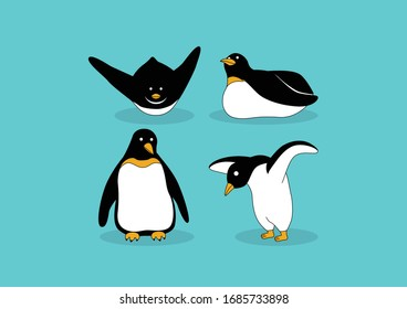 Cute penguins standing on blue background, Arctic animals of North pole Arctic, Penguins cartoon vector illustration