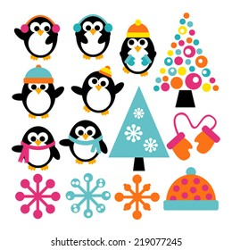 Cute penguins vector clip art set. Great for winter theme projects. Trees and snowflakes are included.