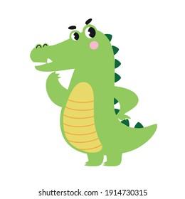Cute Pensive Crocodile, Funny Alligator Predator Green Animal Character Cartoon Style Vector Illustration