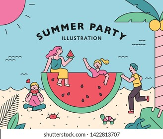 Cute people eating huge watermelons. Banner post card concept template. flat design style minimal vector illustration