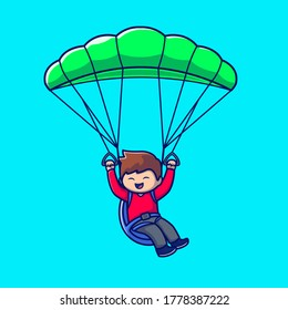 Cute People Playing Paragliding Cartoon Vector Icon Illustration. People Sport Icon Concept Isolated Premium Vector. Flat Cartoon Style
