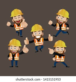 cute people set. Professional set. worker,builder,laborer