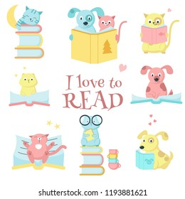 Cute pet animals with books icon set and I love to read handwritten quote. Vector illustration of funny cats, dogs and hamsters reading books isolated on white background.