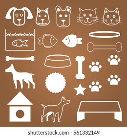 Cute Pets Care Vector Objects White Set