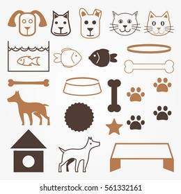 Cute Pets Care Vector Objects Set