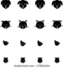 Cute Pets Cat Dog Bird Hamster Expressions Vector Icon Set