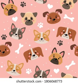 Cute pets pattern with different dogs. Vector illustration in flat style