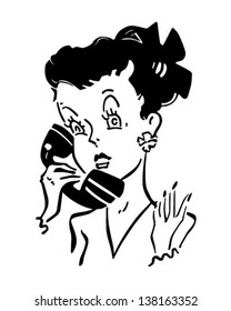 Cute Phone Gal - Retro Clip Art Illustration