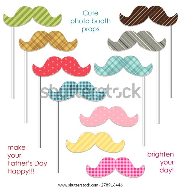 Cute Photo Booth Props Mustaches Make Stock Vector (Royalty