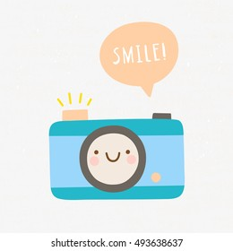 Cute Photo Camera character in cartoon style. Smiley camera with speech bubble. Smile! Photography cute vector illustration.
