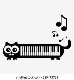 Cute piano kittty illustration