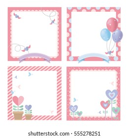 cute picture frame happy birthday, celebrate, valentine, pastel color theme