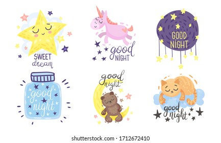 Cute Pictures with Good Night and Sweet Dreams Inscriptions Vector Set