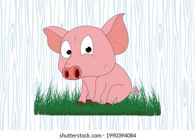 cute pig animal cartoon, simple vector illustration