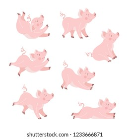 Cute pig animation set cartoon vector illustration. Happy piggy in different poses collection isolated on white
