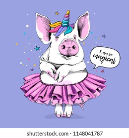 Cute Pig in a ballerina tutu and in a unicorn mask on a light violet background. I am so magical - lettering quote. Humor card, t-shirt composition, hand drawn style print. Vector illustration.