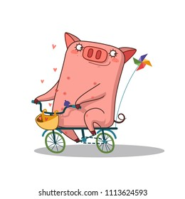 cute pig cartoon bike ride