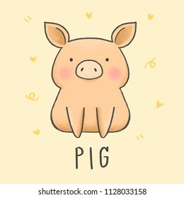 Cute Pig cartoon hand drawn style