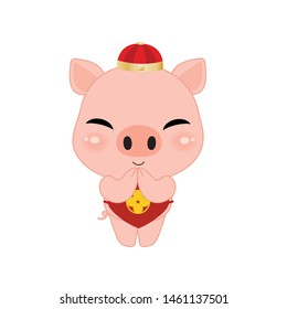Cute Pig Cartoon Style in Respect hands action, Chinese Zodiac Sign Year of Pig . isolated on white background