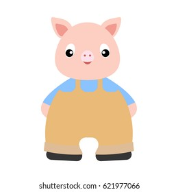 Cute pig character isolated on white background